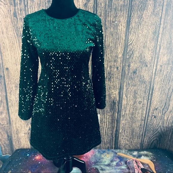 GB Girls Emerald ForrestGreen  Sequin Dress 16 NWT